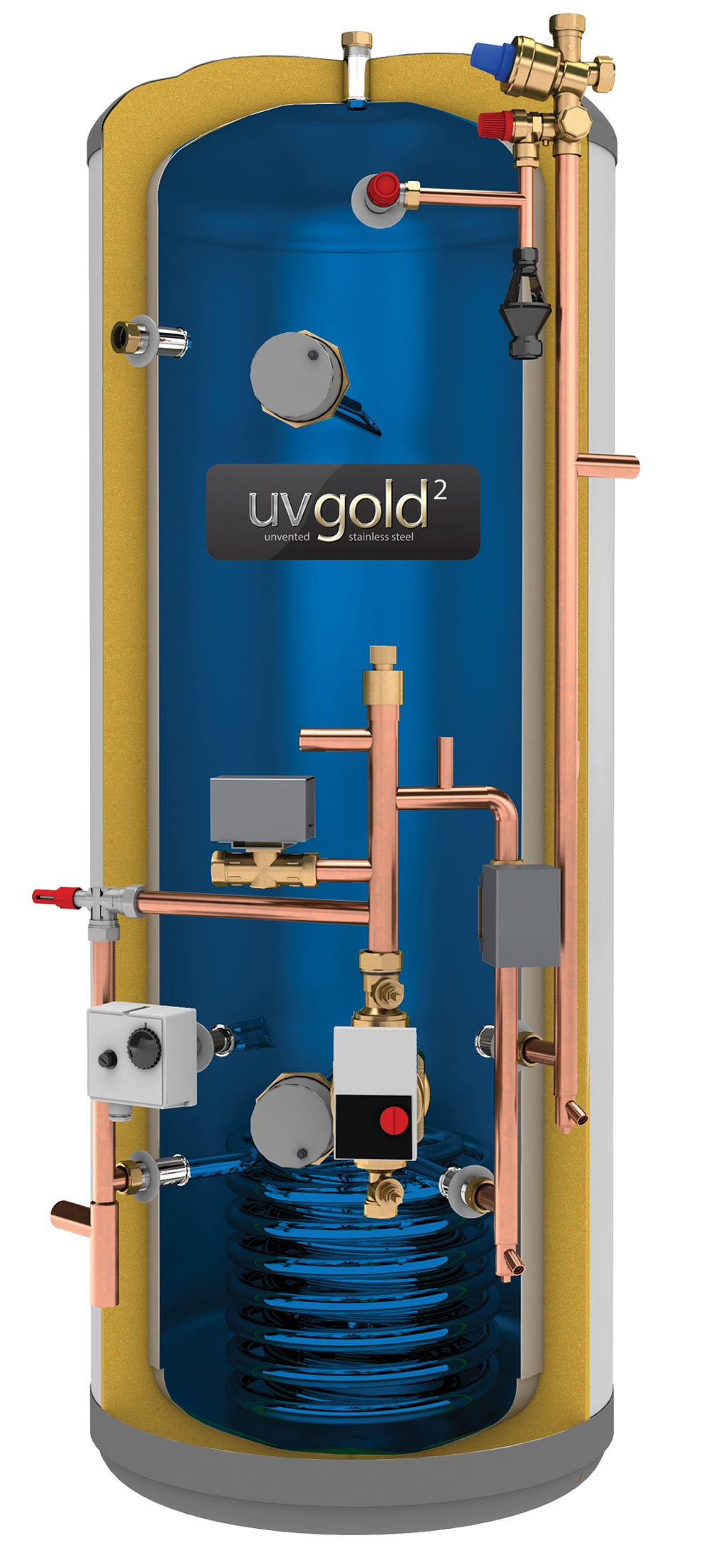 UVgold 2 - Stainless 180L Pre-Plumbed Unvented Hot Water Storage ...
