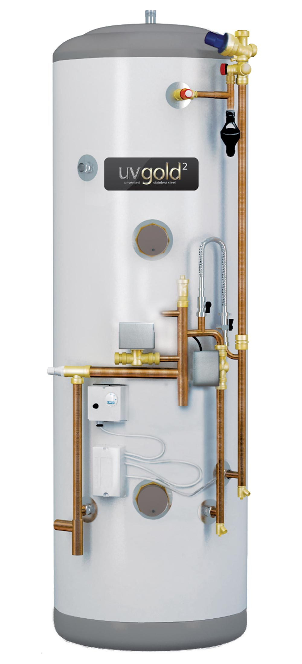 UVgold 2 - Stainless 300L System Fit Unvented Hot Water Cylinder